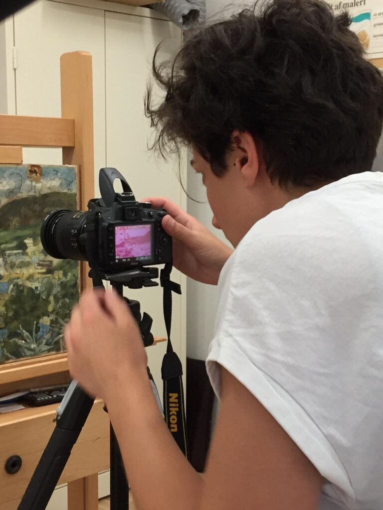Me taking an IR photo to a painting